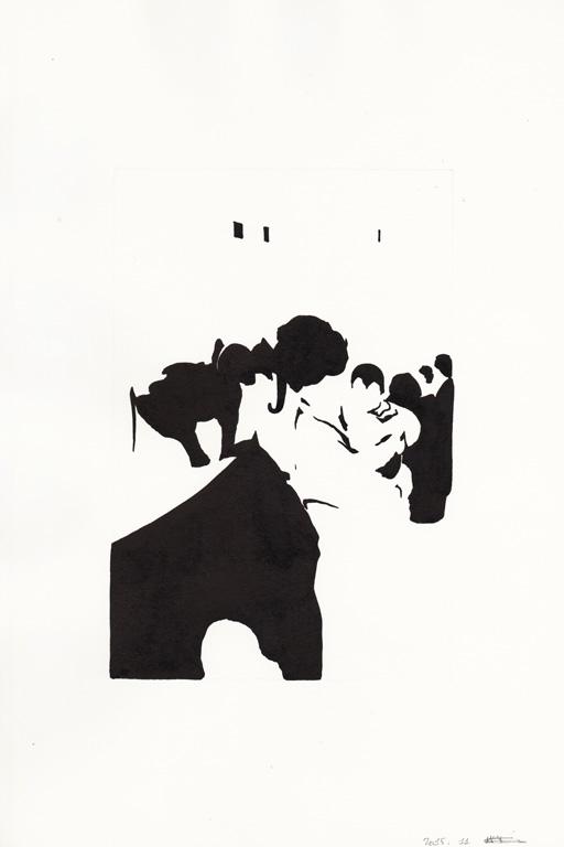 Au zoo avec maman, 2015, 종이에 잉크, 30 x 20 cm