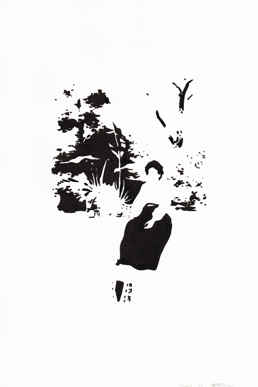Dame dans son jardin, 2015, 종이에 잉크, 30 x 20 cm