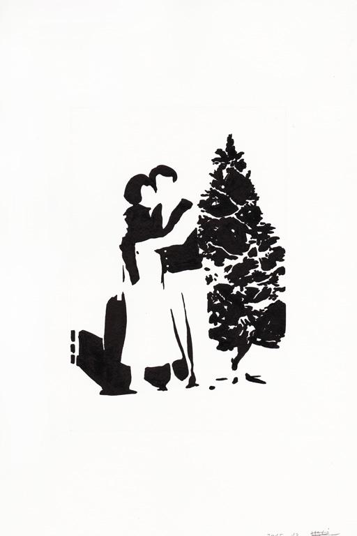 Joyeux noel 01, 2015, 종이에 잉크, 30 x 20 cm