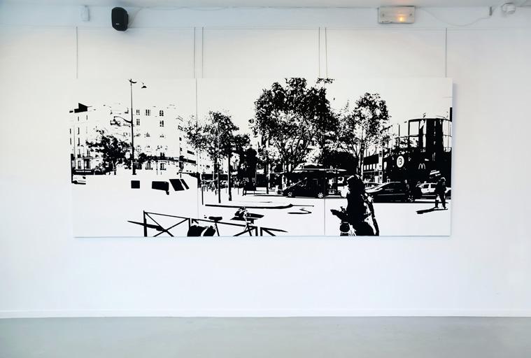 PARIS15_Place Charles Michels #07, 2015, 캔버스에 유채, 162 x 390 cm