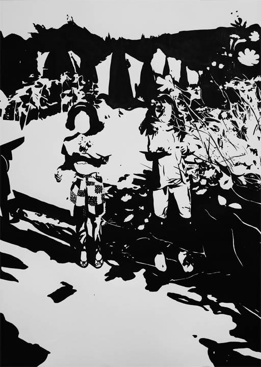 Saison des cosmos, 2016, 종이에 잉크, 70 x 50 cm